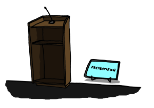 Podium and confidence monitor