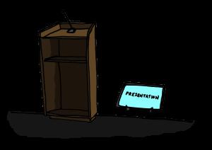 Podium and confidence monitor